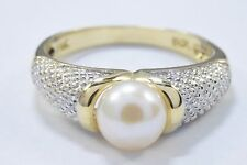 Women's Natural 7.0 mm Perfect Pearl Set in 14k Solid Gold
