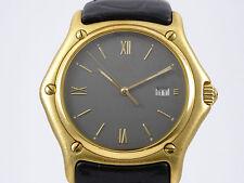 Ebel Armbanduhr 1911 18K Gelbgold mit Lederband und Brillanten Quarz