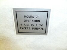 ONE  Duncan 50 Parking Meter Decal Hours of Operation 9 A.M. to 6 P.M.