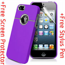 Deluxe PURPLE Hard Case Cover W Chrome for Apple iPhone 5S + Protector +Stylus