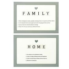 Set of 2 x Family & Home Definition Signs – Plaque Wall Door Grey White Sign