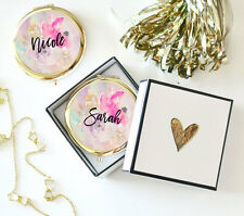 6 Personalized Floral Compact Mirror Bridal Shower Bridesmaid Gift Party Favor