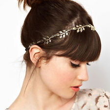 Boho Women Metal Gold IVY Crystal Leaf Headband Hairband Hair Chain Accessories