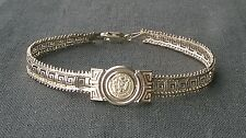 Amazing quality 925 Sterling silver Greek Key style Eagle Pesos coin bracelet 7""