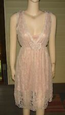 Lou Lou London~Sleeveless Light Pink Lace Dress~Size S/M~DEEP V Neck~NWT/Defects