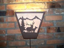 Laser Cut Steel 6pt BULL & COW ELK ANYWHERE SCONCE PAIR  Lamp cabin home decor