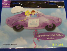 """Just Married Car Purple Wedding Party Decoration Foil 34"""" Shaped Mylar Balloon"""
