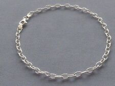 """10""""-STERLING SILVER ITALY 925 ANKLE BRACELET- DIA CUT ROLO OPEN FACETED DESIGN"""
