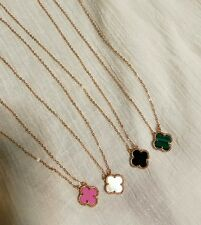 Four Leaf Clover Flower Necklace S925 18k Rose Gold Plated