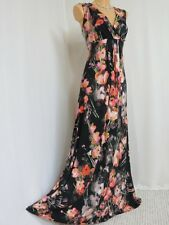 STUNNING MONSOON TOKYO GEISHA MAXI DRESS SIZE 16 BLACK PINK PEACH FLORAL STRETCH