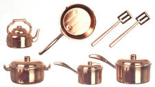 10 pc Copper Coloured Kitchenware Pots & Pans, Dolls House Miniatures