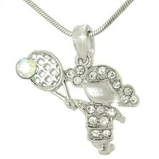 "TENNIS GIRL W Swarovski Crystal Sport Charm Love 18"" Chain Pendant Necklace Gift"