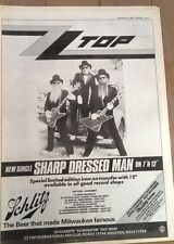 ZZ TOP Sharp Dressed Man & 1983 UK Tour Poster size Press ADVERT 16x12 inches