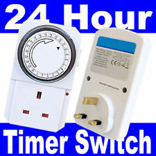 2 x 24 Ore Timer programmabile Rete Elettrica Muro Casa SOCKET PLUG SWITCH UK 3 Pin PLUG