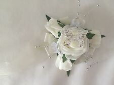 Wedding prom wrist corsages flower girls bridesmaids bouquets roses Ivory