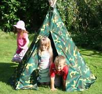 NEW KIDS CAMOUFLAGE TEEPEE, WIGWAM TENT, CHILDRENS PLAY TENT CHILDS GARDEN TOY
