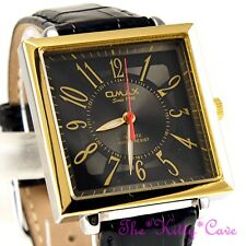 Omax Waterproof Square Gold Gents Unisex Contemporary Black Leather Watch SC8061