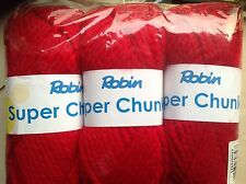 ROBIN SUPER CHUNKY KNITTING WOOL 5X100G CLARET SHADE 32 THOMAS RAMSDEN YARN