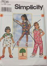 Simplicity Sewing Pattern # 7536 Child's Overalls, Top, Jumper, Sizes 5, 6, 6X