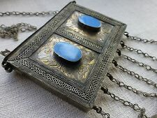 Vintage Indian decorative metal hanging box turquoise coloured  stone detail