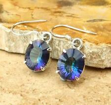 OVAL BLUE MYSTIC TOPAZ STERLING 925 SILVER EARRINGS JEWELLERY