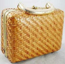 Vintage Lesco Lona Wicker Straw Small Handbag Purse Lined Footed Lucite Handle