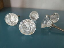 Small Diamond Cut Clear Glass Faceted  DRAWER PULL KNOB ~ Home Decor