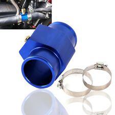 LCD Car Water Temperature Temp Meter Gauge Hose Joint Pipe 28mm Blue W/ Clamp