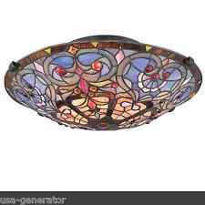 Ceiling Lighting Fixture 2 Light Semi-Flush Tiffany Style Heart Art Glass 17""