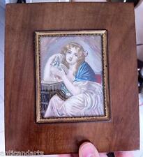 Grand Cadre Miniature Jeune fille à la colombe signé Garnier