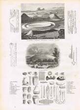 1854 Stonehenge Plans Sections Druid Circle Persia Darab Engravings