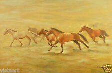 """Oil Painting On Stretched Canvas 24"""" X 36""""- Horse Stampede"""