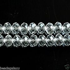 A string of clear flat round rondelle crystal beads, 10 x 8 mm (70-72 pcs)*