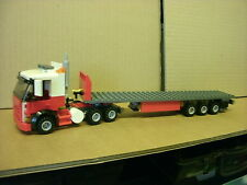 LEGO CITY CUSTOM RED/WHITE  6 WHEELER TRUCK WITH TRI-AXL FLATBED TRAILER L@@K