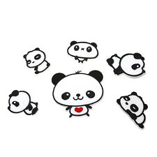 6Pcs Sweet Pandas Embroidery Cloth Iron On Patch Sew Motif Applique Tools EW