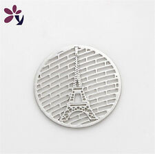 New 22mm Tower discs Round silver for Glass Living Memory Locket Floating Charm