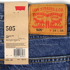Levis 505 Jeans New Size 34 x 34 STONEWASH Mens Straight Leg Zip Fly #593
