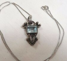 Fabulous 4.0 Carat Blue Topaz Pendant Necklace Amethyst Too Sterling Silver