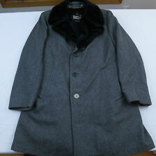 Vtg Mens Great Western Gleneagles Wool Faux Fur Collar Car Coat Jacket Sz 42