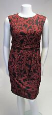 R&M Richards Burnt Orange Print Cap Sleeve Side Gathered Dress Sz 14P