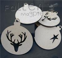 Wooden Round Christmas Bauble Ball Shapes Craft MDF Hanging Decoration Blanks