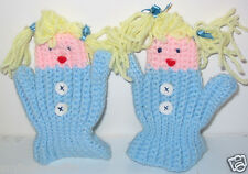 Too Cute! Hand Crochet Puppet Mittens for Little Girl Gift or Decoration New