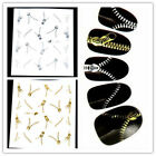 New Gold/Silver Zipper Smart Nail Art Water Transfers Stickers Decals Metallic