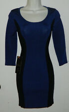 New Women bebe Solid Black Blue Sexy Bodycon 3/4 Sleeve Cocktail Party Dress XS