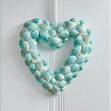 NEW Aqua Blue Seashell Seaside Coastal Beach Heart Shaped Door Wreath