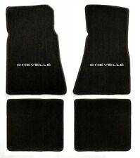 Chevy Chevelle 1966-1967 4 Piece Floor Mat Set  Black with word Chevelle Logo