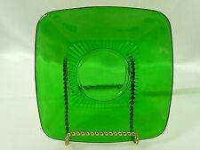 "Anchor Hocking Charm Forest Green Glass Square Saucer 5-1/2"" Vintage 1950's"