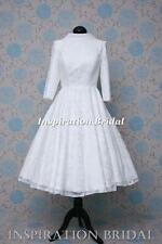 1593 short 50s 60s wedding dresses tea knee length pretty modest long sleeves
