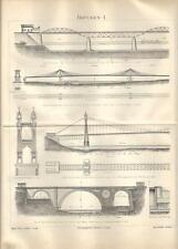 Stampa antica PONTI del MONDO Tav.1 Brooklyn Poznan Berna 1890 Old antique print