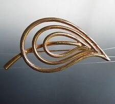 Gold tone unique lines textured Leaf BROOCH